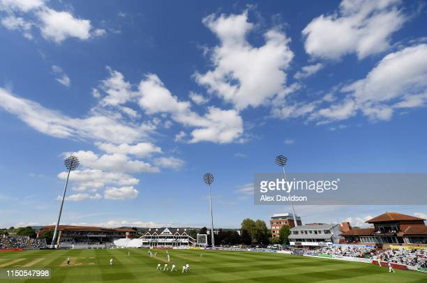 General view of play during Day One of the Specsavers County Championship match between Somerset and Warwickshire at at The Cooper Associates County...