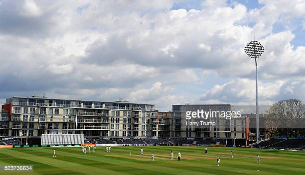 General view of play during Day One of the Specsavers County Championship Division Two match between Gloucestershire and Worcestershire at The County...