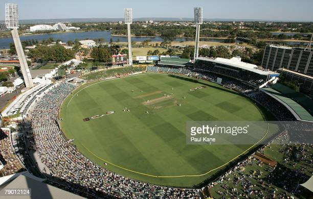 A general view of play during day one of the Third Test match between Australia and India at the WACA on January 16 2008 in Perth Australia