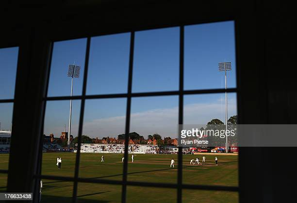 A general view of play during Day One of the Tour Match between England Lions and Australia at The County Ground on August 16 2013 in Northampton...