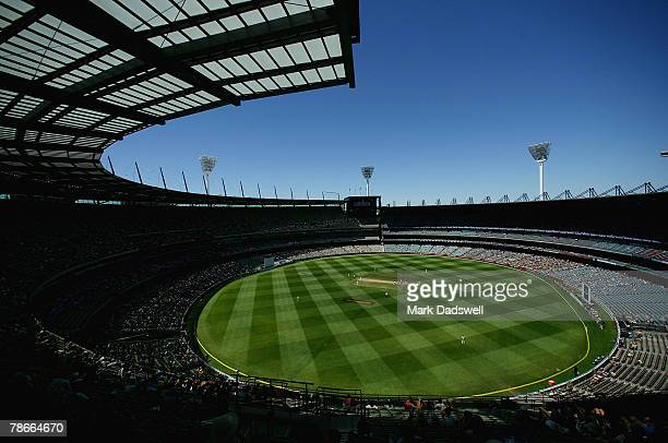 General view of play during day three of the First Test match between Australia and India at the Melbourne Cricket Ground on December 28, 2007 in...