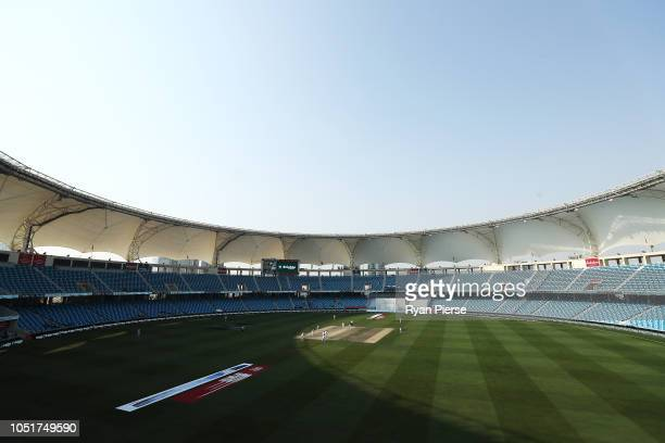 General view of play during day three of the First Test match in the series between Australia and Pakistan at Dubai International Stadium on October...