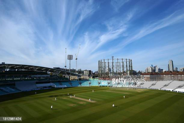 General view of play during day three of the LV= Insurance County Championship match between Surrey and Leicestershire at The Kia Oval on April 17,...