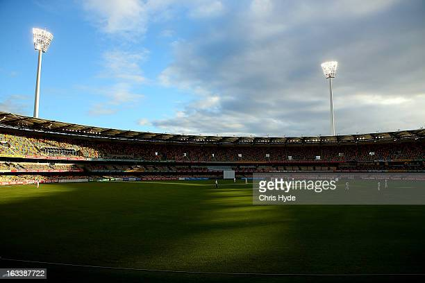 General view of play during day three of the Sheffield Shield match between the Queensland Bulls and the Tasmanian Tigers at The Gabba on March 9...