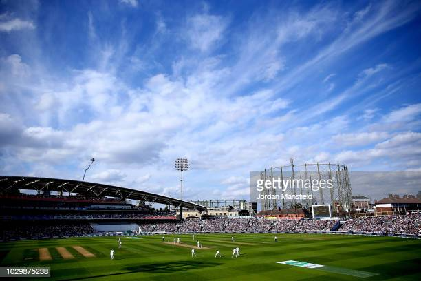 A general view of play during day three of the Specsavers 5th Test match between England and India at The Kia Oval on September 9 2018 in London...