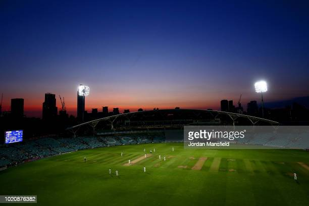 A general view of play during day three of the Specsavers County Championship Division One match between Surrey and Lancashire at The Kia Oval on...