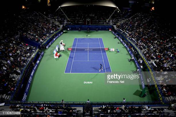A general view of play during day twelve of the ATP Dubai Duty Free Tennis Championships at Dubai Duty Free Tennis Stadium on February 28 2019 in...