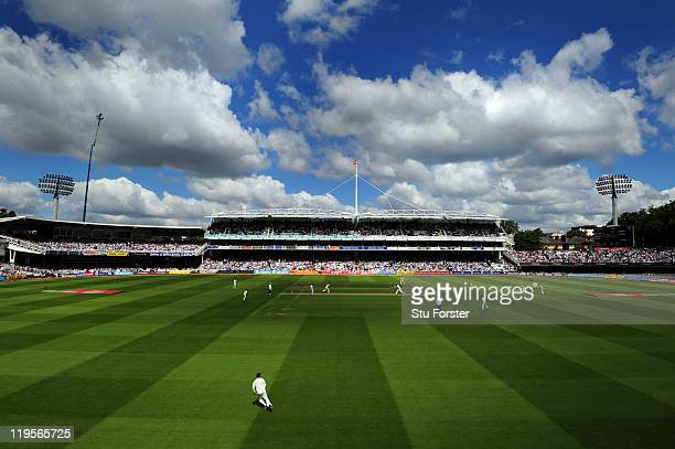A general view of play during day two of the 1st npower test match between England and India at Lords on July 22 2011 in London England