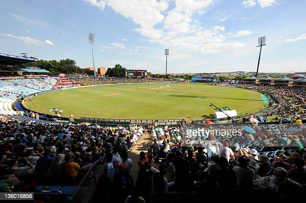 A general view of play during day two of the 1st Test match between South Africa and Sri Lanka at Supersport Park on December 16 2011 in Pretoria...