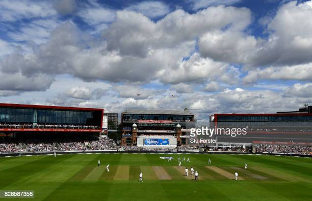 A general view of play during day two of the 4th Investec Test match between England and South Africa at Old Trafford on August 5 2017 in Manchester...