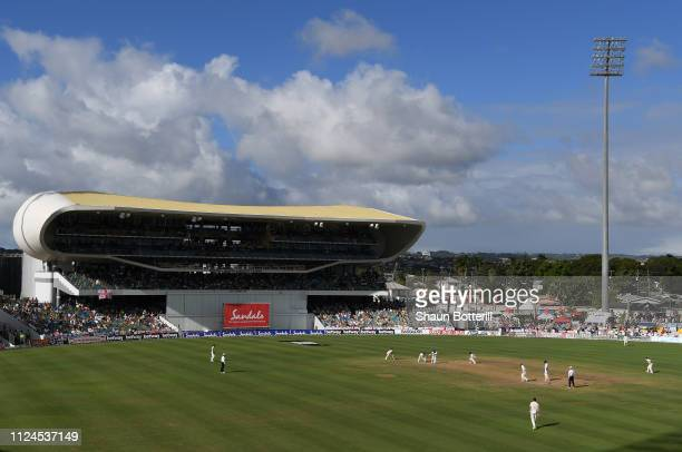 General view of play during Day Two of the First Test match between England and West Indies at Kensington Oval on January 24, 2019 in Bridgetown,...