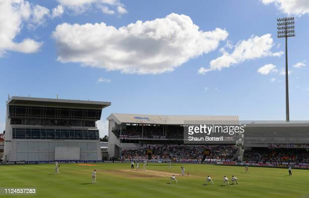 A general view of play during Day Two of the First Test match between England and West Indies at Kensington Oval on January 24 2019 in Bridgetown...