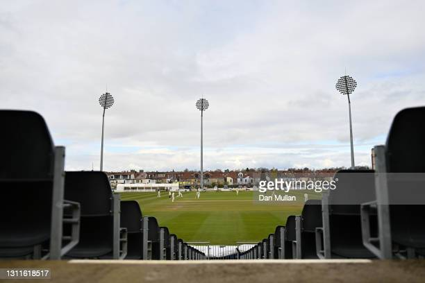 General view of play during day two of the LV= Insurance County Championship match between Gloucestershire and Surrey at Bristol County Ground on...
