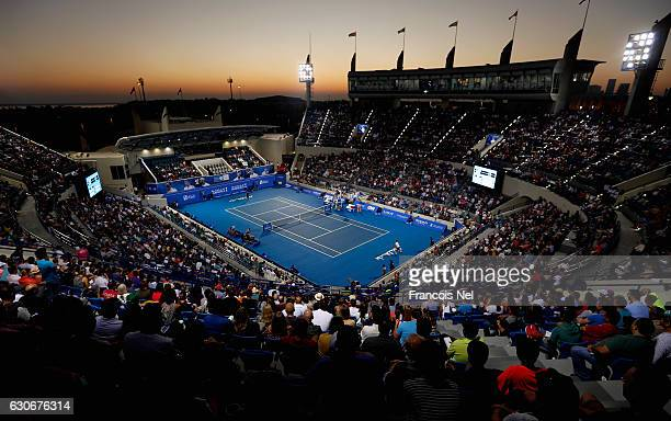 A general view of play during day two of the Mubadala World Tennis Championship at Zayed Sport City on December 30 2016 in Abu Dhabi United Arab...
