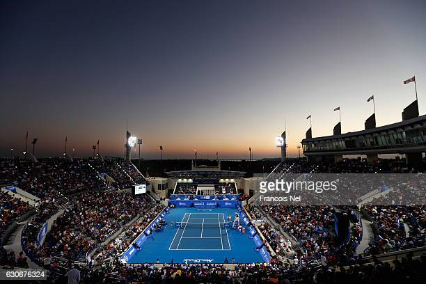 General view of play during day two of the Mubadala World Tennis Championship at Zayed Sport City on December 30, 2016 in Abu Dhabi, United Arab...