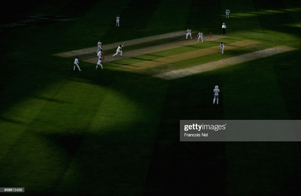A general view of play during Day Two of the Second Test between Pakistan and Sri Lanka at Dubai International Cricket Ground on October 7, 2017 in Dubai, United Arab Emirates.