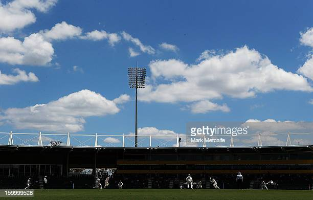 A general view of play during day two of the Sheffield Shield match between the New South Wales Blues and the Western Australia Warriors at Blacktown...