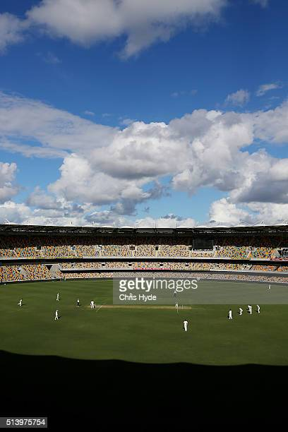 General view of play during day two of the Sheffield Shield match between Queensland and Victoria at The Gabba on March 6 2016 in Brisbane Australia