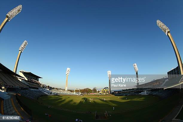 A general view of play during day two of the Sheffield Shield match between Western Australia and South Australia at the WACA on October 26 2016 in...