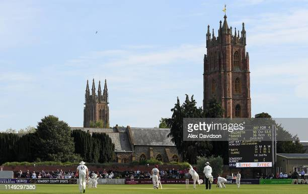 A general view of play during Day Two of the Specsavers County Championship match between Somerset and Surrey at at The Cooper Associates County...