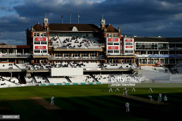 General view of play during day two of the Specsavers County Championship Division One match between Surrey and Lancashire at The Kia Oval on April...