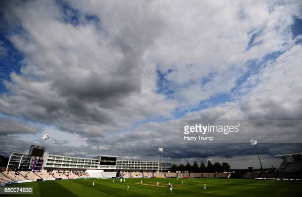 General view of play during Day Two of the Specsavers County Championship Division One match between Hampshire and Essex at the Ageas Bowl on...
