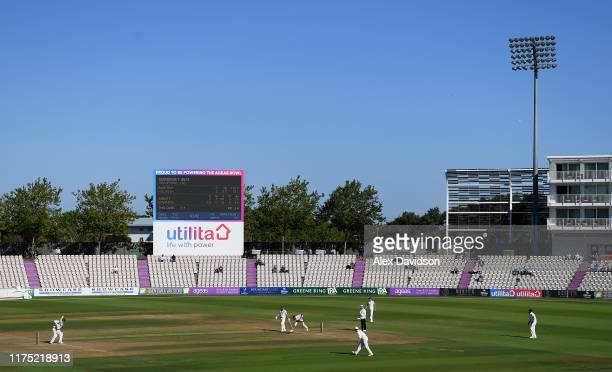 A general view of play during Day Two of The Specsavers Division One County Championship match between Hampshire and Somerset at Ageas Bowl on...