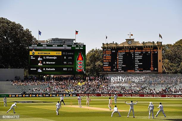 A general view of play during day two of the Third Test match between Australia and South Africa at Adelaide Oval on November 25 2016 in Adelaide...