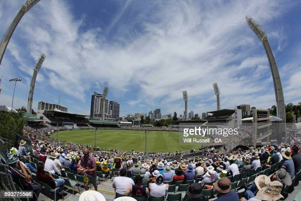 A general view of play during day two of the Third Test match during the 2017/18 Ashes Series between Australia and England at WACA on December 15...