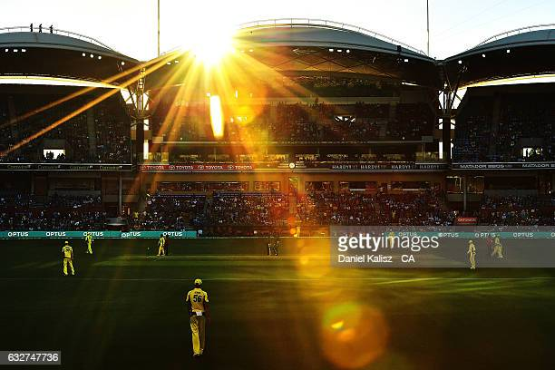 General view of play during game five of the One Day International series between Australia and Pakistan at Adelaide Oval on January 26, 2017 in...