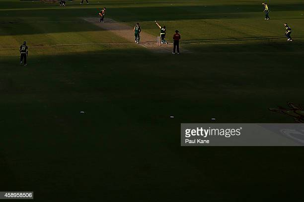 A general view of play during game one of the men's one day international series between Australia and South Africa at WACA on November 14 2014 in...