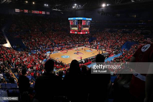 General view of play during game one of the NBL Grand Final Series between the Perth Wildcats and Melbourne United at RAC Arena, on June 18 in Perth,...