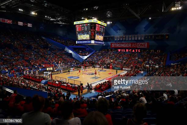 General view of play during game one of the NBL Semi-Final Series between the Perth Wildcats and the Illawarra Hawks at RAC Arena, on June 10 in...