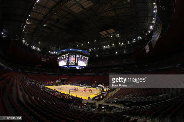 General view of play during game three of the NBL Grand Final series between the Sydney Kings and Perth Wildcats at Qudos Bank Arena on March 15,...