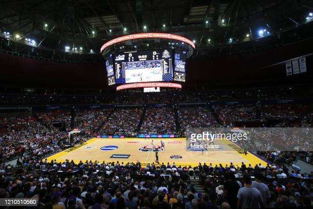 General view of play during game three of the NBL Semi Final Series between the Sydney Kings and Melbourne United at Qudos Bank Arena on March 05,...