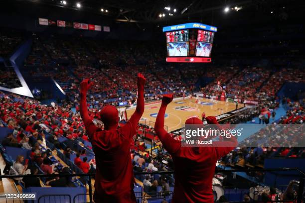 General view of play during game three of the NBL Semi-Final Series between the Perth Wildcats and the Illawarra Hawks at RAC Arena, on June 14 in...
