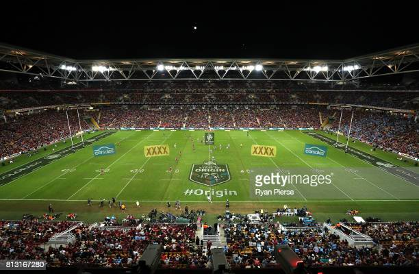 A general view of play during game three of the State Of Origin series between the Queensland Maroons and the New South Wales Blues at Suncorp...