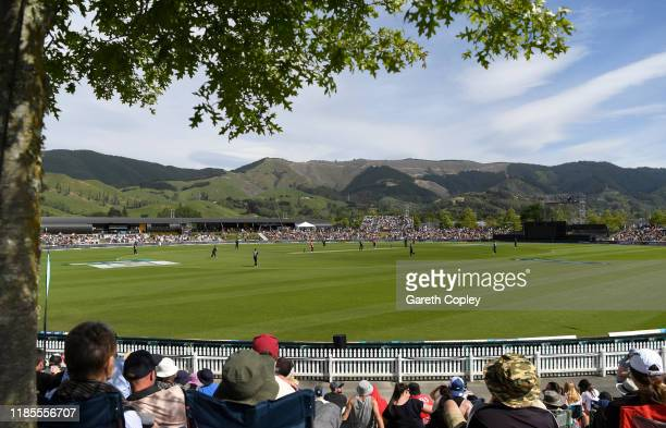 General view of play during game three of the Twenty20 International series between New Zealand and England at Saxton Field on November 05, 2019 in...