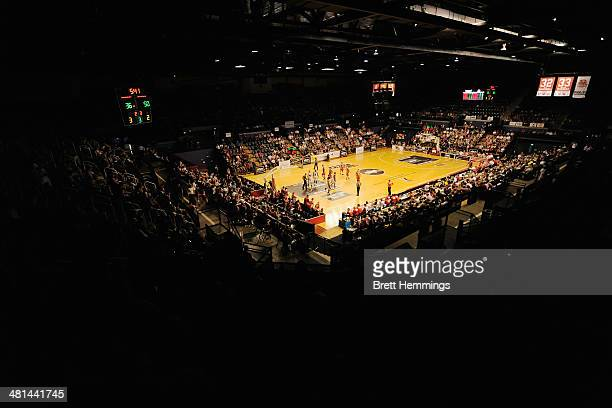 General view of play during game two of the NBL Finals Series between the Wollongong Hawks and the Perth Wildcats at WIN Entertainment Centre on...