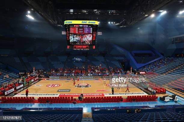 General view of play during game two of the NBL Grand Final series between the Perth Wildcats and the Sydney Kings at RAC Arena on March 13, 2020 in...