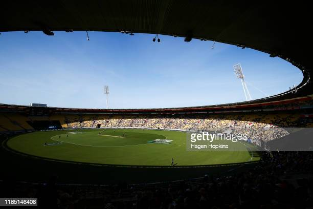 General view of play during game two of the Twenty20 International series between New Zealand and England at Westpac Stadium on November 03, 2019 in...