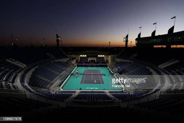 General view of play during her Women's Singles match on Day Five of the Abu Dhabi WTA Women's Tennis Open at Zayed Sports City on January 10, 2021...