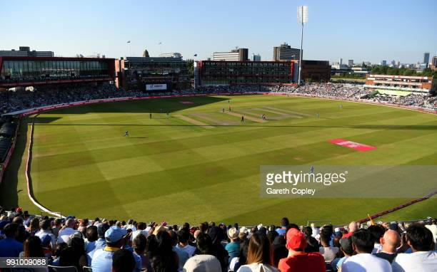 General view of play during the 1st Vitality International T20 match between England and India at Emirates Old Trafford on July 3 2018 in Manchester...