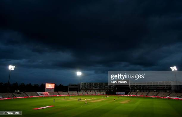 General view of play during the 1st Vitality International Twenty20 match between England and Australia at The Ageas Bowl on September 04, 2020 in...