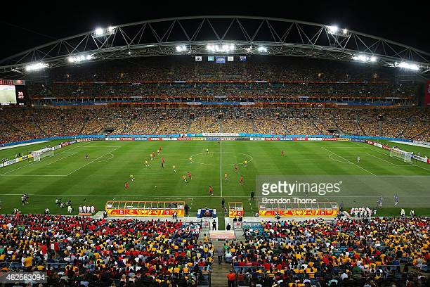 A general view of play during the 2015 Asian Cup final match between Korea Republic and the Australian Socceroos at ANZ Stadium on January 31 2015 in...