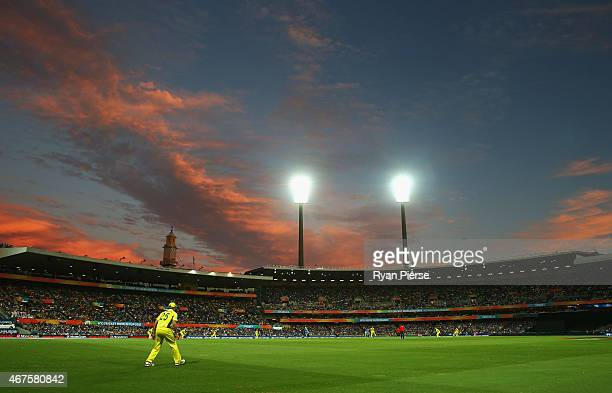 General view of play during the 2015 Cricket World Cup Semi Final match between Australia and India at Sydney Cricket Ground on March 26, 2015 in...