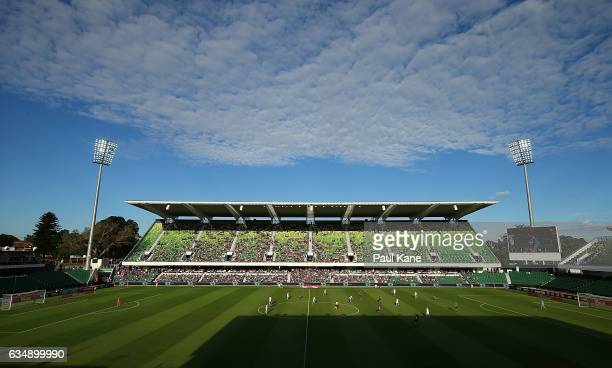 A general view of play during the 2017 WLeague Grand Final match between the Perth Glory and Melbourne City FC at nib Stadium on February 12 2017 in...