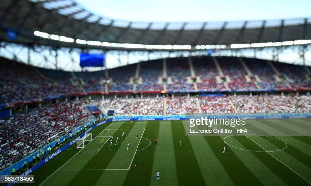 A general view of play during the 2018 FIFA World Cup Russia group A match between Saudia Arabia and Egypt at Volgograd Arena on June 25 2018 in...