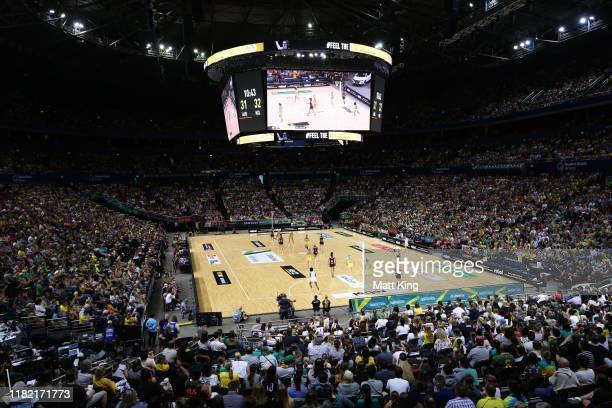 General view of play during the 2019 Constellation Cup match between the Australian Diamonds and the New Zealand Silver Ferns at Qudos Bank Arena on...