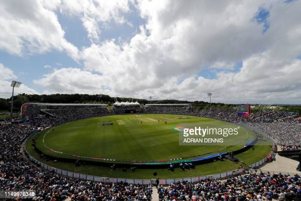 A general view of play during the 2019 Cricket World Cup group stage match between England and West Indies at the Rose Bowl in Southampton southern...